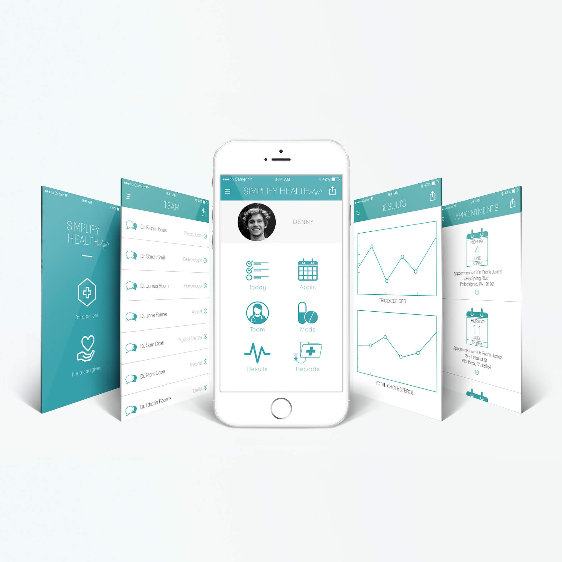Image shows 5 screenshots of a healthcare app that are designed to be simple ways for patients to keep track of and access their medical information and records.
