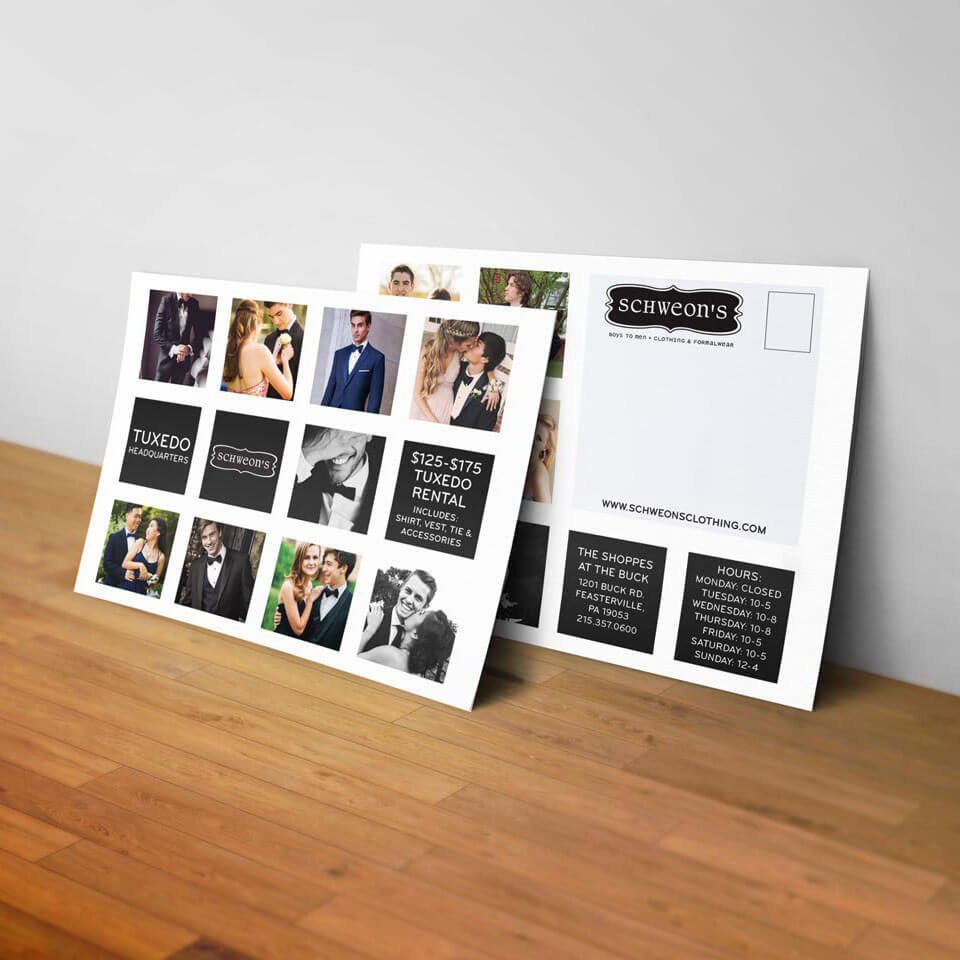 A promotional postcard for a menswear prom tux sale that has an instagram-style grid of prom photographs laid out on it.