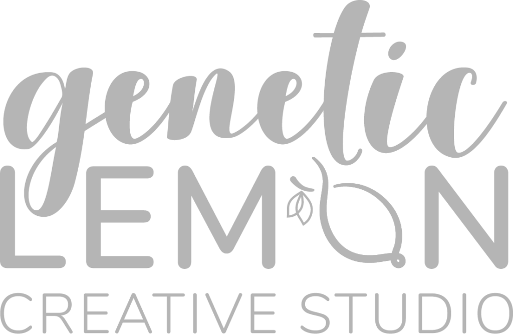 "Graphic of Genetic Lemon Creative Studio Logo which shows the word ""genetic"" in a scripted teal font above a the word ""lemon"" in gray sans serif, and the words ""Creative Studio"" aligned below those words in the same gray sans serif font. The ""O"" in Lemon is a yellow lemon that has a twist at the top mimicking a DNA helix, and has 2 small green leaves on the left side."