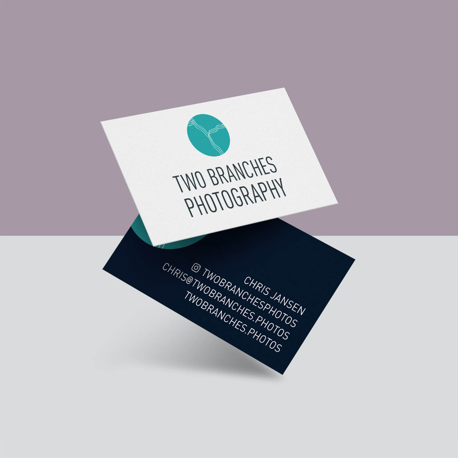 Floating Business card mockup for Two Branches Photography